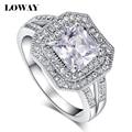Loway anillo cuadrado de alta calidad aaa + cubic zirconia plateado platino joyería de las mujeres blancas jz5821