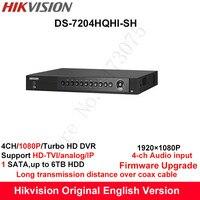 Hikvision Original English Turbo HD DVR DS 7204HQHI SH Support HD TVI Analog IP Camera 4ch