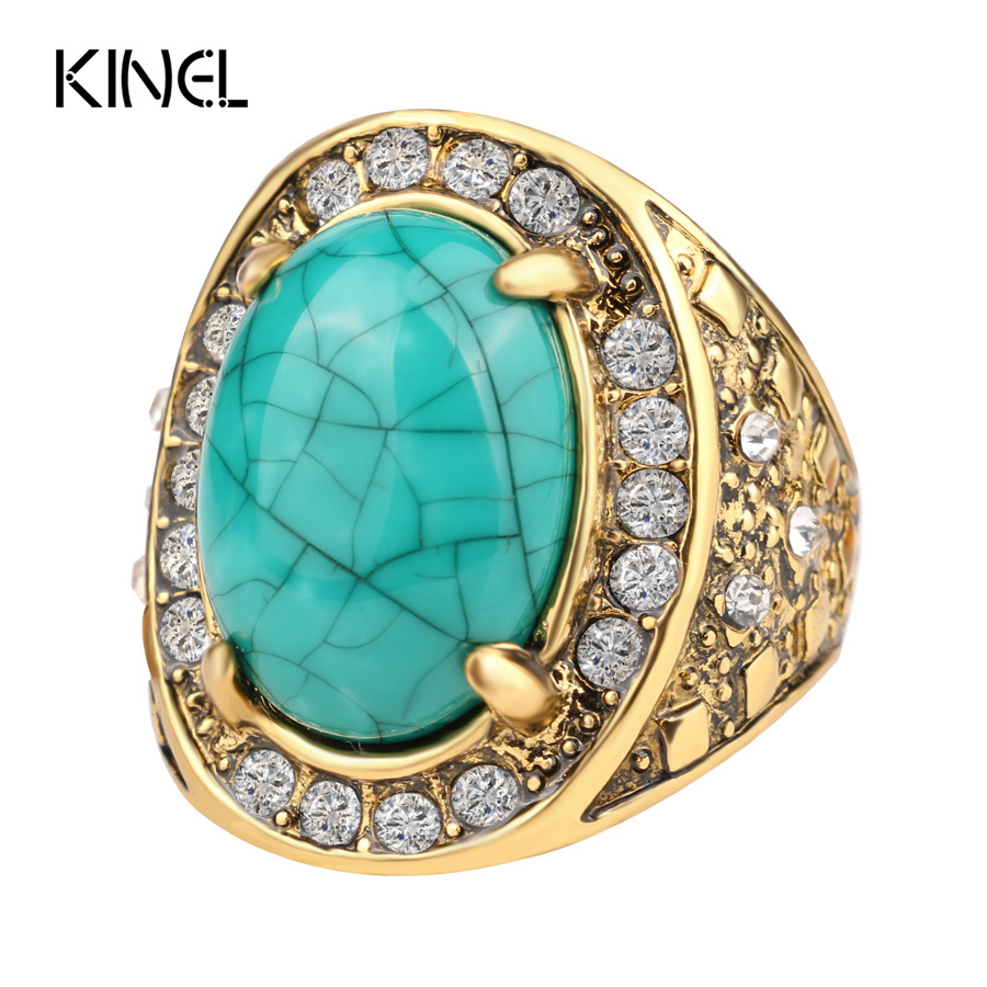 Hot 2015 Fashion   Gold Turquoise Rings For Women Inlay White Crystal Oval Punk Rock Big Ring LY Jewelry