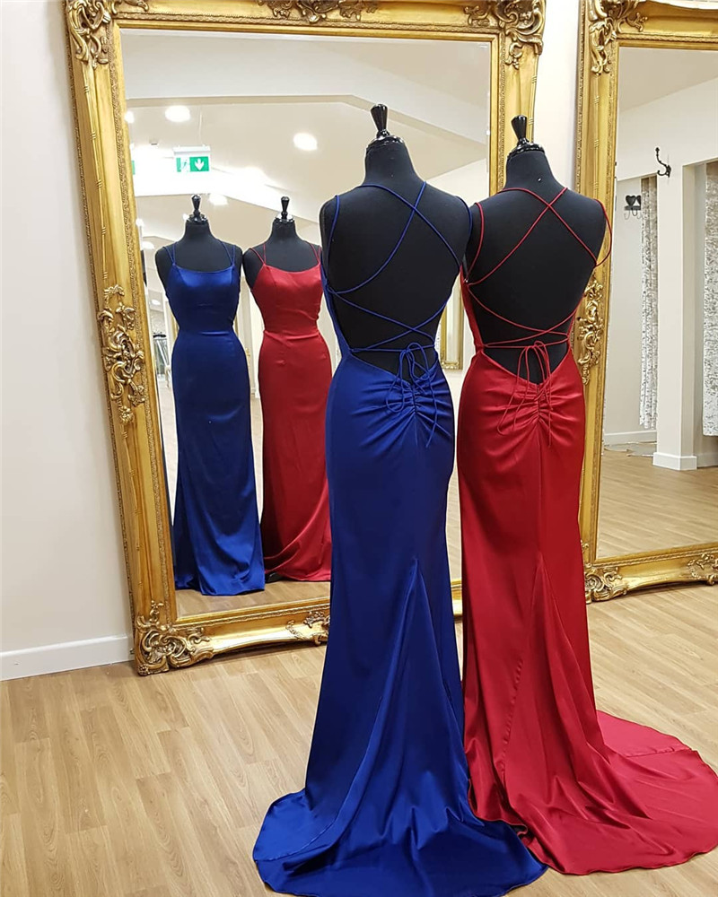 Royal Blue Mermaid Formal   Prom     Dress   2019 Sexy Halter Neck Evening Gowns Cross Back Red Long Special Occasion Robe De Soire