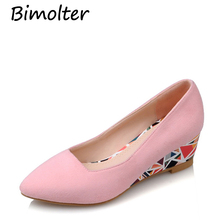 Bimolter New Women PU Pumps Fashion High Quality Basic Geometric Colors Pointy Toe Ballerina Ballet Wedges Slip On Shoes PFSB016
