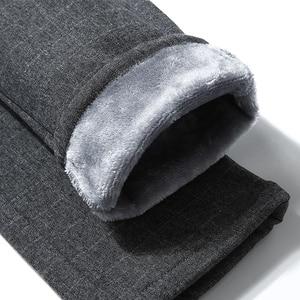 Image 4 - מותג גברים של חורף צמר קצפת לעבות חם מכנסי קזואל גברים עסקים ישר אלסטי עבה משובץ כותנה אפור מכנסיים זכר