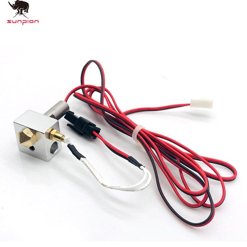 Peças de impressora mk10 hotend kit 0. 4mm bocal cobre m7 rosca heatbreak com ptfe teflon + termopar parafusos fixação ntc100k3950