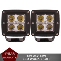 2PCS 12W LED Light Offroad Work Light Car Auto Truck ATV Motorcycle Bicycle 4WD AWD 4x4