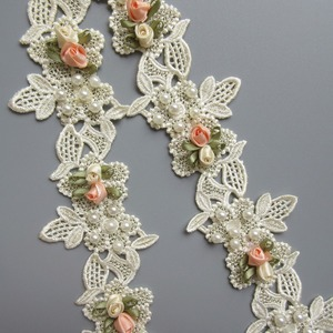 1 yard Vintage Pearl Flower Floral Apricot Embroidered Lace Edge Trim Ribbon Applique Patches Wedding Dress Fabric Sewing Craft