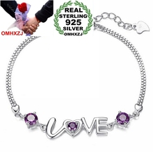 OMHXZJ Wholesale Fashion present High Quality AAA zircon Amethyst 925 Sterling Silver Romantic Love Women Bracelets Bangles SZ29