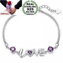 82cd776ab824 OMHXZJ venta al por mayor de moda regalo de alta calidad AAA zircon amatista  925 de plata esterlina amor romántico mujeres pulse.