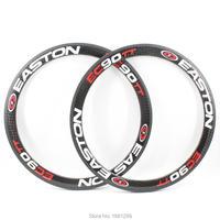 2pcs Newest EC90TT 700C 50mm Road Fixed Gear Track Bike 12K Full Carbon Bicycle Wheels Tubular