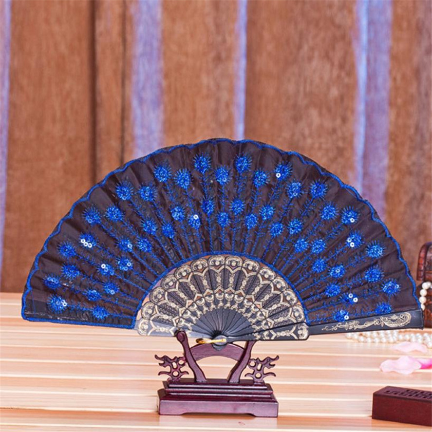 Embroidered Peacock Tail Folding Sequins Hand Held Fan Wedding Party Decor Fans