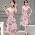 2016 New Summer Fashion Women's Clothing Short Sleeves Patchwork Dress Pink Korean Show Slim Long Flowers Printing Dress Female