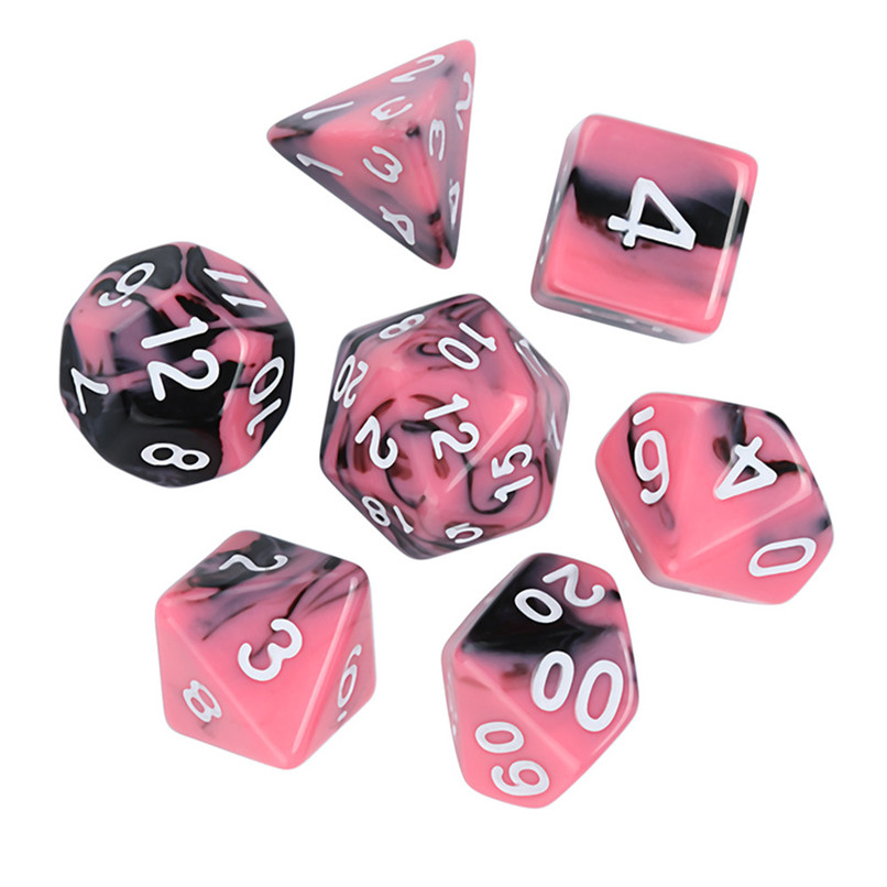 7Pcs Dice Game  Polyhedral D4-D20 Multi Sided Acrylic Dice Digital Dice FOR party birthday event #2o25#F