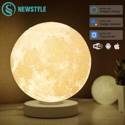 Умная настольная лампа в виде Луны с 3D рисунком, красочный светильник в форме Луны, с поддержкой Alexa, Google Assistant, с Wi-Fi и голосовым управлением, ...