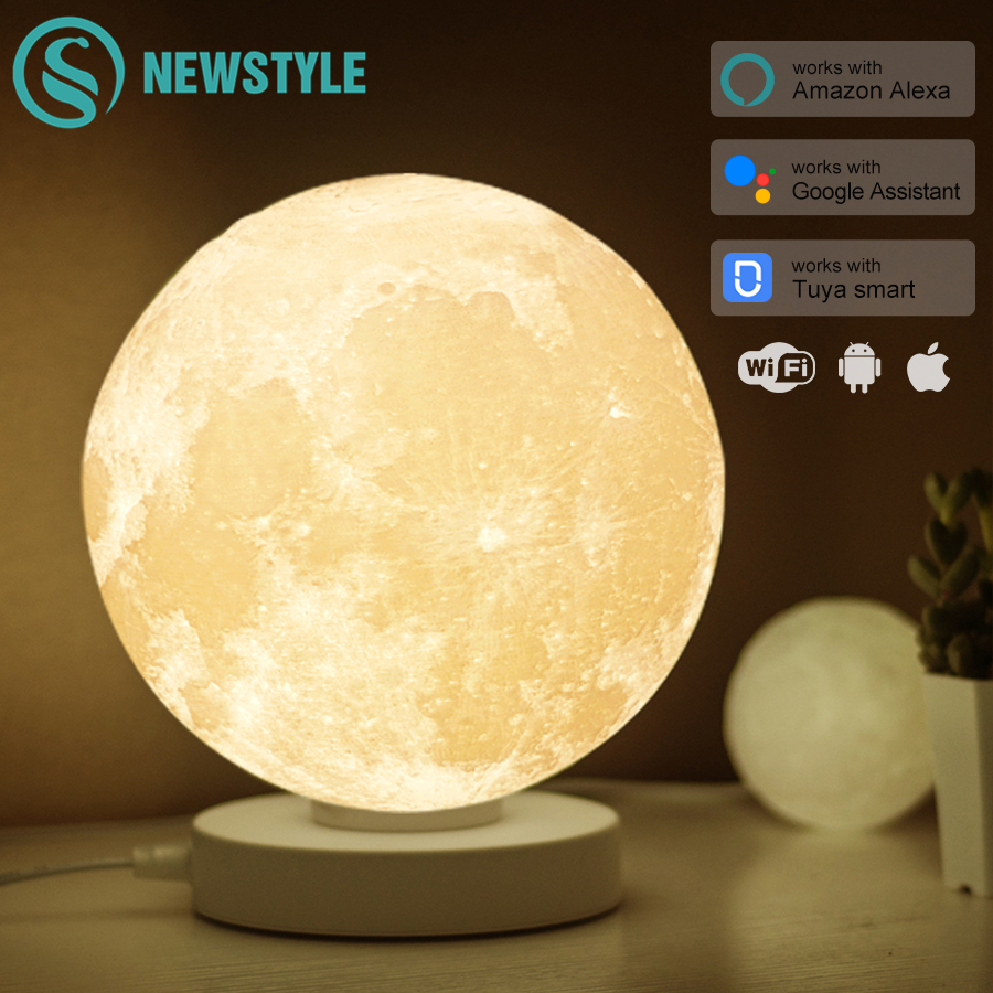 3D Printed Smart Moon Lamp Colorful Lunar Moon Light Amazon Alexa Google Assistant WiFi Voice Control Table Desk Lamp Creative