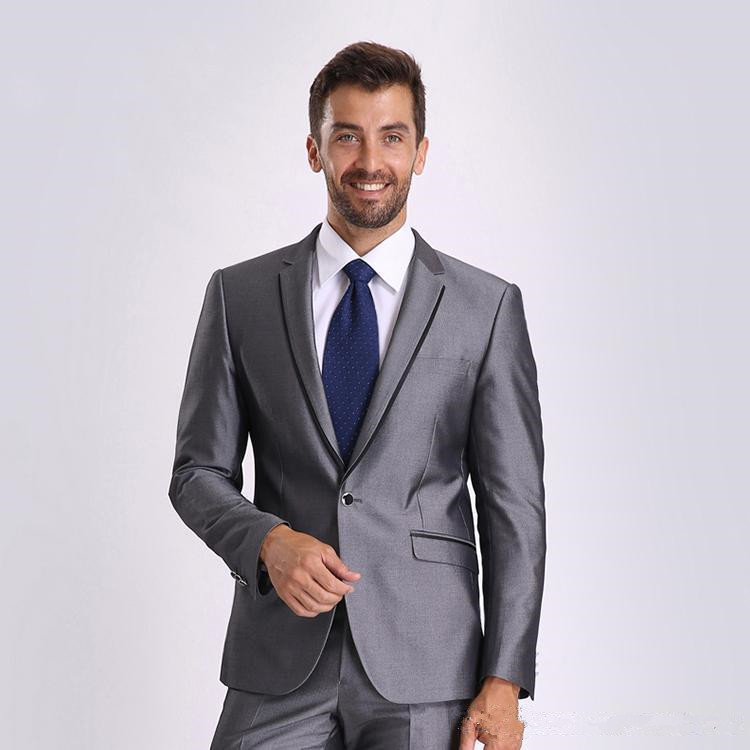 3Pieces (Jacket+Pant+tie) Notch Lapel One Button Bright Gray Formal Tuxedos Custume Homme High Quality Slim Fit Terno Masculino