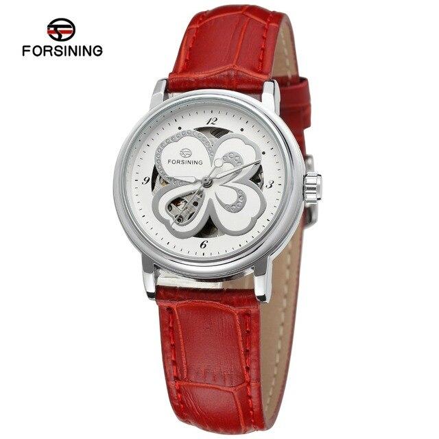 Forsining Для женщин часы Скелет аналоговые прозрачный кристалл кожаный strapfashion Повседневное бренд наручные часы Цвет белый fsl8014m3