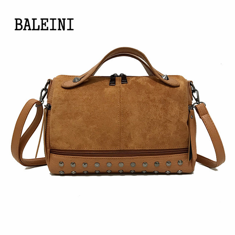 d3ec987eae54 US $14.85 45% OFF|Fashion PU Leather Crossbody Bags for Women Vintage  Leather Bags Handbags Retro Rivet Tote Bags For Women Large Messenger  Bags-in ...