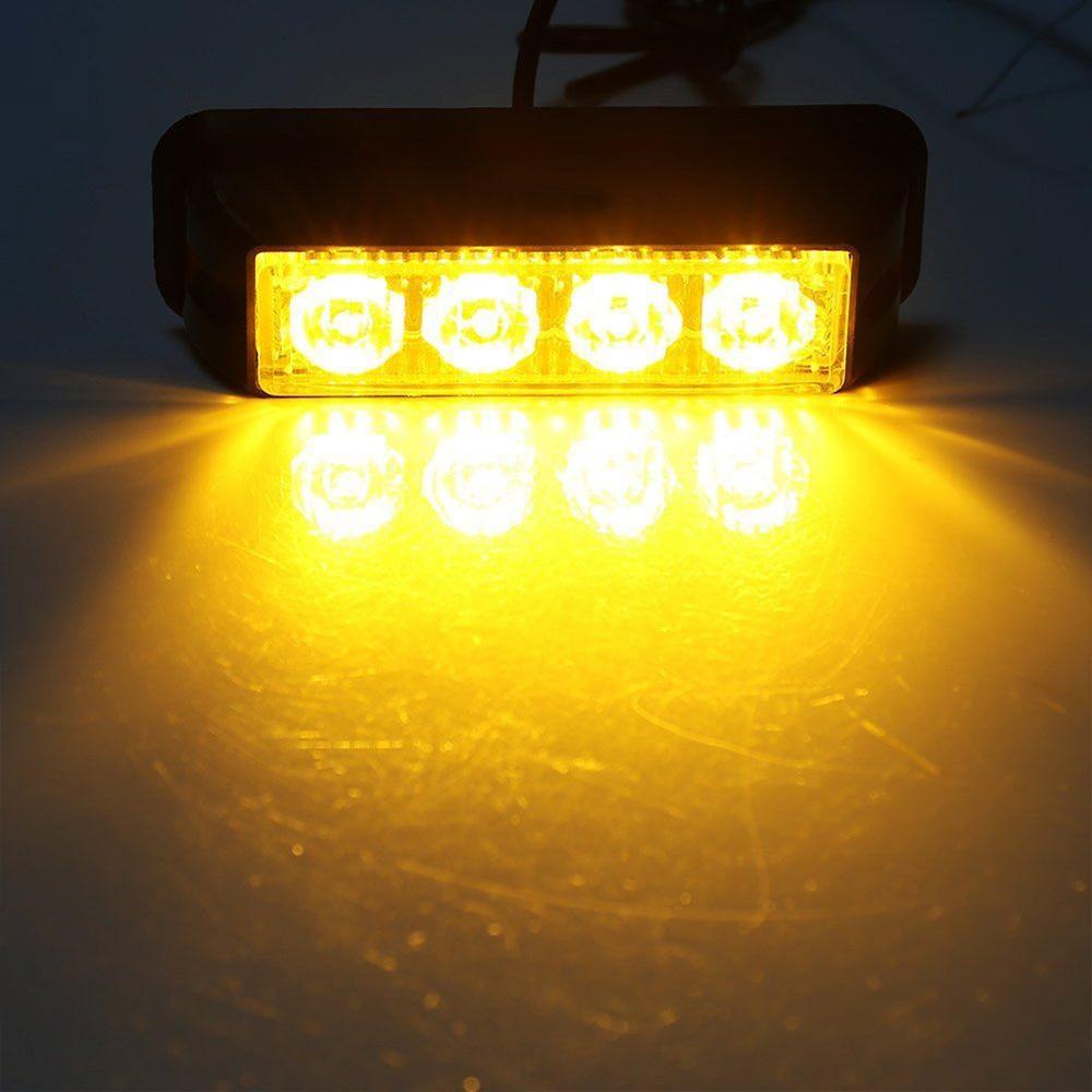 2pcs 4LED new great quality Yellow Car Truck Emergency Beacon Warning Flash Strobe Light Bar lamp