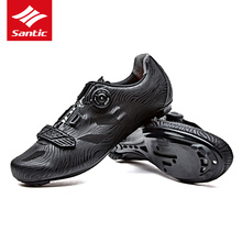 Santic 2017 New Men Cycling Shoes Lace-up Nylon Sole Road Bike Shoes Sneakers Athletic Racing Bicycle Shoes for Man Riding Black