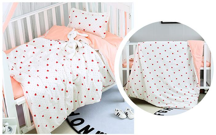 With Filling Pink Strawberry Newborn Baby Bed Set Crib Blanket Cot Set For  Infant,Duvet /Sheet/Pillow