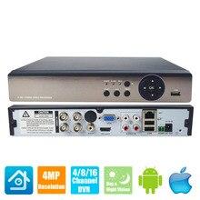 4CH 8CH AHD видеорегистратор H.264+ 4MP 1080 P 4 8 16 каналов 5 в 1 гибридный видеорегистратор XVi TVi CVI IP NVR для камеры для домашнего видеонаблюдения
