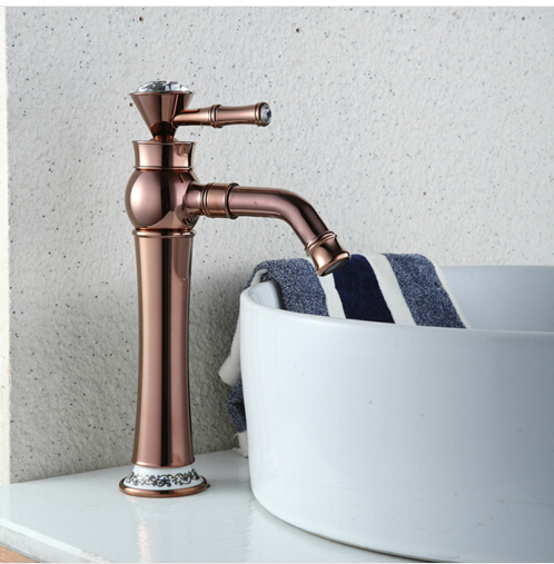 ФОТО fashion European style high basin faucet high quality brass Rose gold finish bathroom basin faucet sink faucet