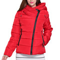 2016 New Winter Jacket Women Parkas Loose Down Cotton Female Jacket Short Oblique Zipper Hooded Women's Winter Jacket Coat IF853