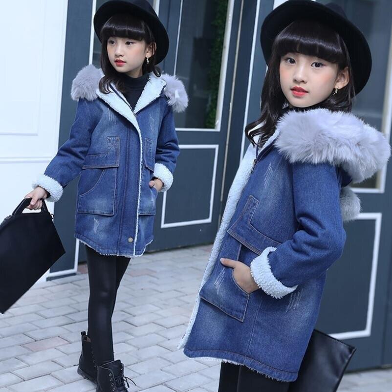 99ce15f65216 2018 Thick Warm Denim Girls Winter Coat Winter Jackets Fur Collar ...