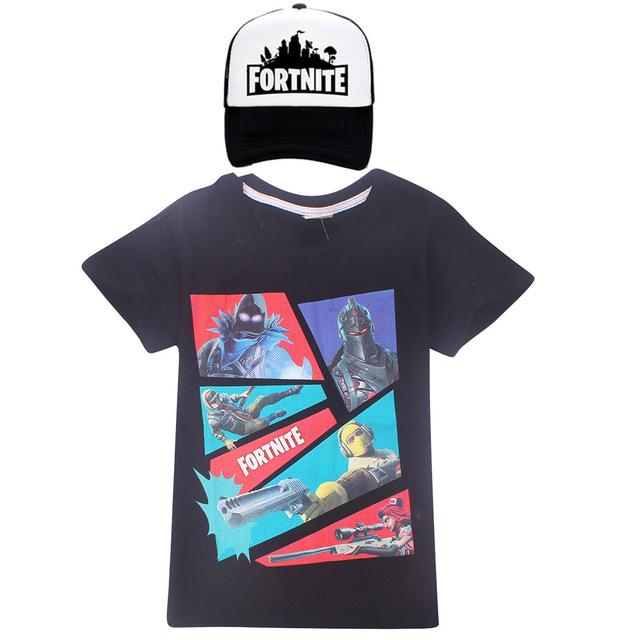 2018 Summer Fortnight Shirts Boys Clothes Celebrations Childrens Child T shirts girls Tops Kids Gaming Dance Dab Cap & T-Shirts 4
