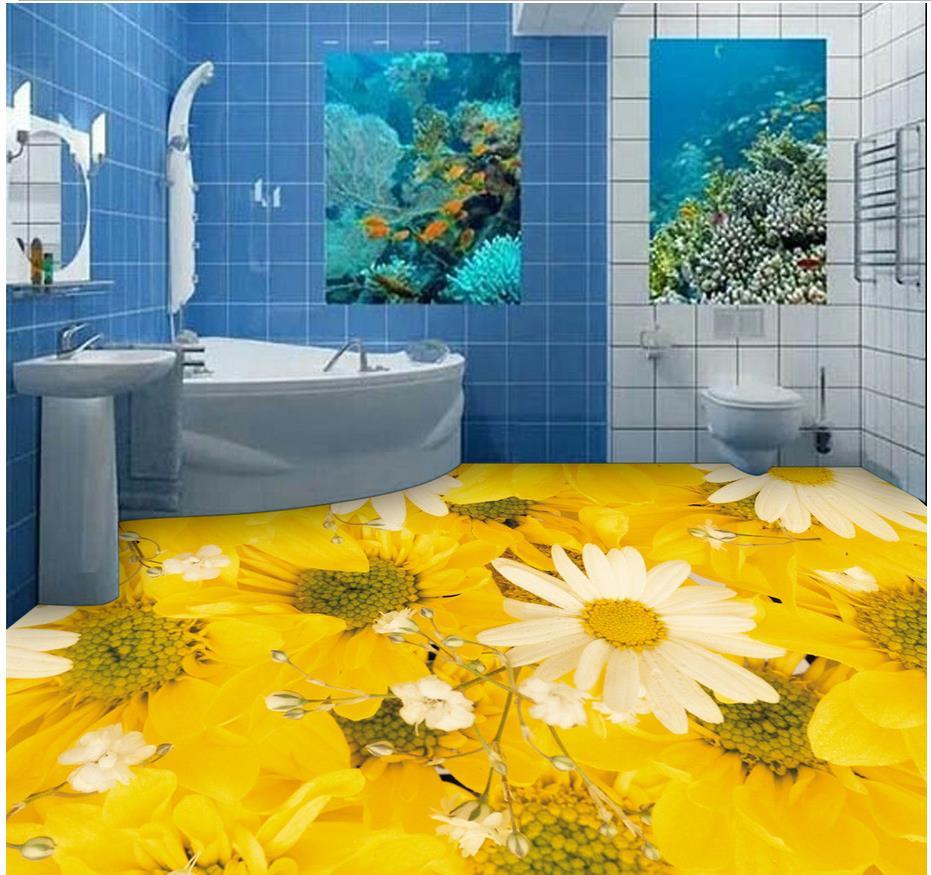 Custom Photo self-adhesive 3D floor Home Decoration PVC waterproof floor  Bathroom flowers Photo wallpaper mural floor