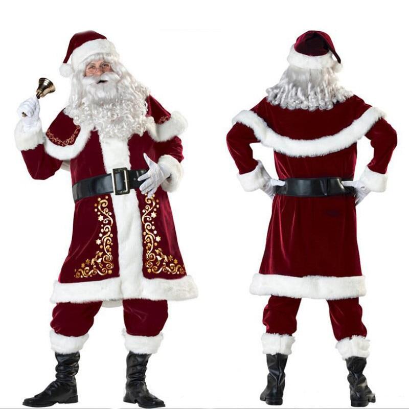 M-XXXL  2018 New Deluxe Velvet Christmas Santa Claus Suit Adult Mens Costume Gloves + Shawl+hat+clothes+belt+Foot Cover+gloves