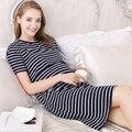Listrado roupas de maternidade coreano dress para as mães grávidas amamentação lactação roupas esporte maternidade dress túnica 502005