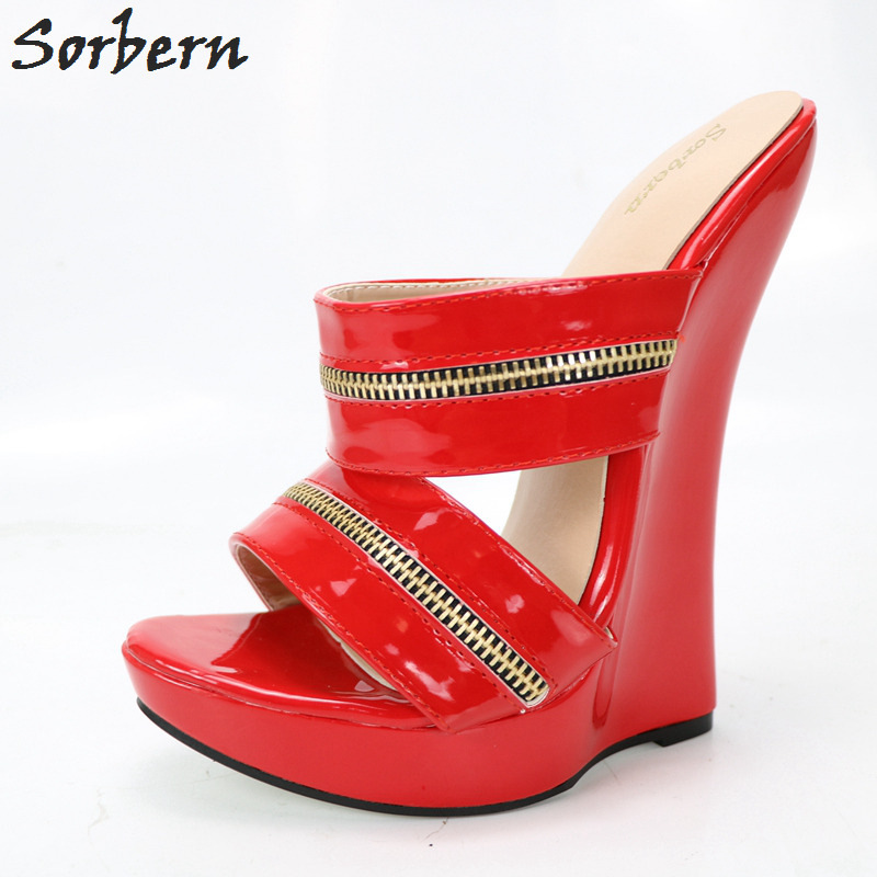 Sorbern 18CM Plus Size Women Sandals Wedges For Unisex Dance Party Shoes Ankle Strap Sandals Fashion Summer Sandal Ladies Shoes sorbern plus size women flat sandals shoes buckle strap cheap modest fashion ladies party shoes for summer pu shoes 2018 new