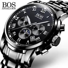 ANGELA BOS Negro de Acero Inoxidable Reloj de Los Hombres Relojes 2017 Marca de Lujo de Los Hombres Reloj de Cuarzo Contratado Fecha de Hombre Relojes de Pulsera