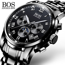 ANGELA BOS Black Stainless Steel Clock Men Watches 2017 Luxury Brand Men Watch Quartz Contracted Date Men's Watches Wristwatch