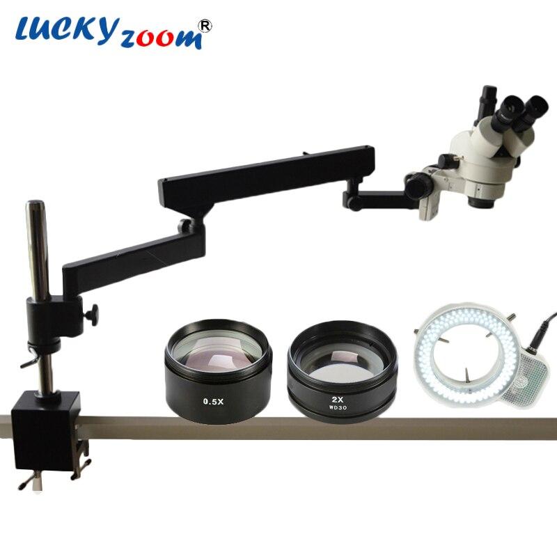 Lucky Zoom Brand 3.5X-90X ARTICULATING ARM ZOOM STEREO MICROSCOPE+ SZM0.5X & SZM2.0X Microscope Auxiliary Lens