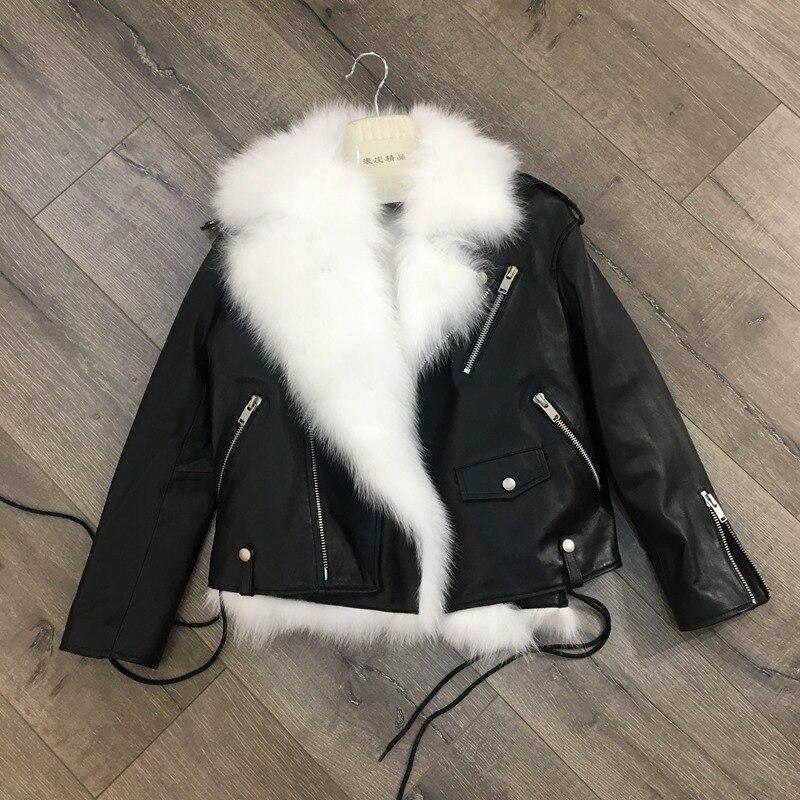 Mode Vestes Hiver Femmes Mouton Fourrure Et Black Femme Blanc Outwear De 2018 Peau Doublure Manteaux Chaud En Court Cuir Renard Véritable 100 YqUvdT