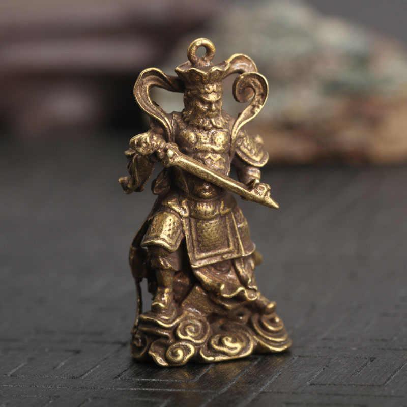 ทองแดงพระพุทธรูปรูปปั้นพวงกุญแจจี้ Vintage ทองเหลืองสี่การบังคับใช้กฎหมายพระเจ้า Key King Kong Key แหวนคอลเลกชันงานศิลปะ