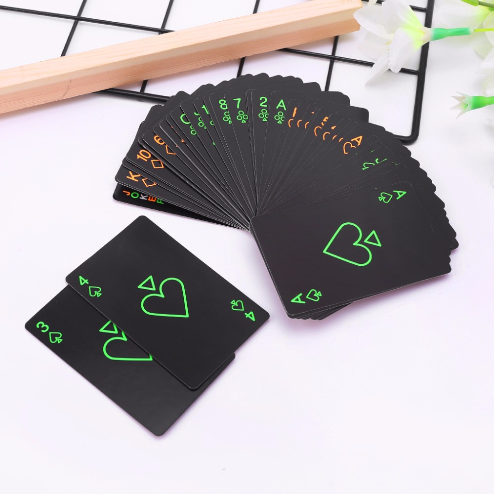 Hot Black Luminous Poker Card Bar Party KTV Fluorescent Playing Cards Night Game(China)