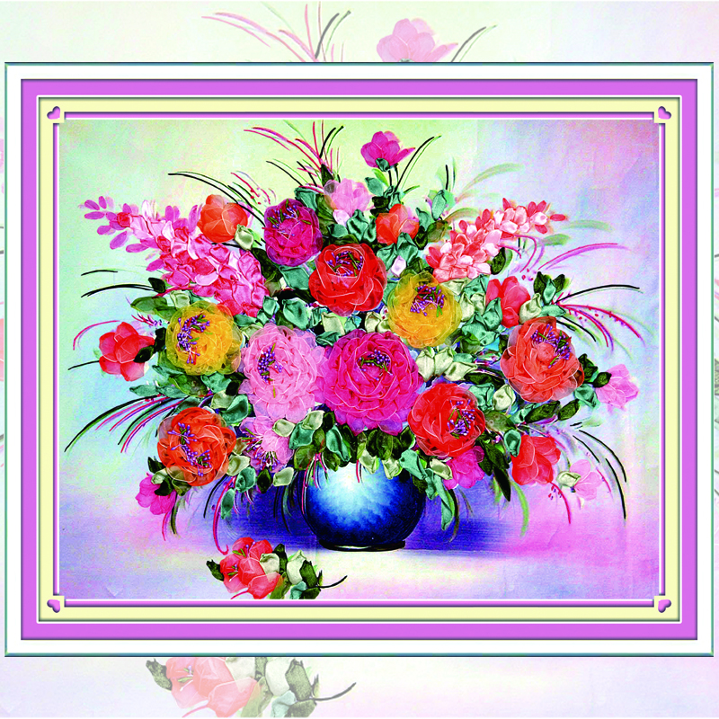 DIY Ribbons Embroidery Floral & Flowers Decorative Canvas Painting Colored HD Prints Needlework & Cross Stitch Kit C-0042