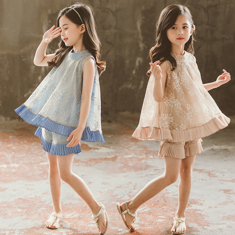 Girls Summer Outfits Girl Clothes Set Lace Tops + Pressed Pleat Pants Fashion Trends 2019 Clothes 10 12 Years Children Clothing