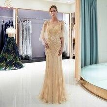 2019 Gold Mermaid Evening Dresses Short Sheer Sleeves Luxury Handmade Beading Formal Party Gowns Elegant Sweep Train Prom Dress