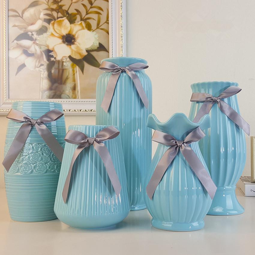 jarrn de porcelana creativa minimalista moderno saln deco luz azul de la manera de mesa jarrn