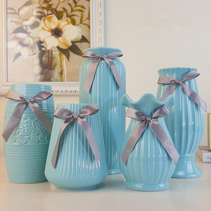 Modern Creative Porcelain Vase Minimalist Living Room Deco Flower Vase  Fashion Light Blue Tabletop Vase Modern Fashion Big Vase