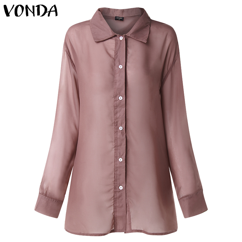 VONDA Women Sexy Lapel Neck Long Sleeve Blouse 2019 Spring Summer Tunic Overalls Beach Patry Blusa See Through Tops Office Shirt in Blouses amp Shirts from Women 39 s Clothing
