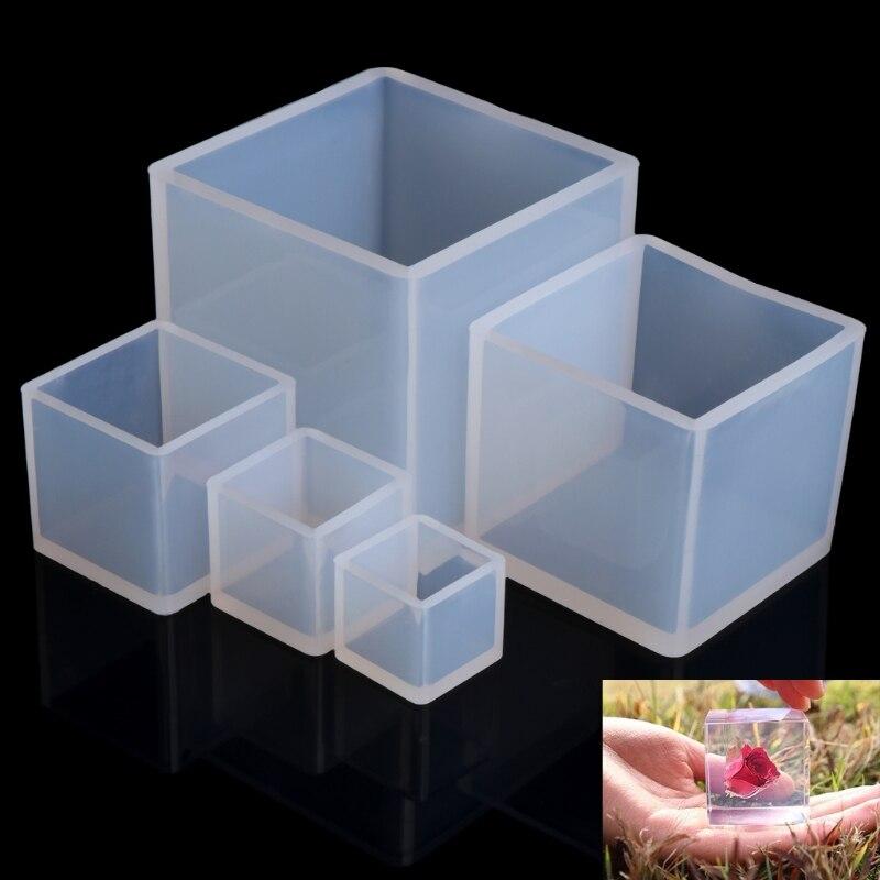Bricolage Silicone pendentif moule fabrication de bijoux Cube résine moulage moule artisanat outil nouveau