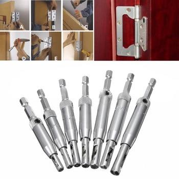 цена на 7pcs HSS Self Hinge Twist Drill Bits Hex Shank Screw Hole Screwdriver Door Cabinet Window Drilling 5/64 7/64 9/64 11/64
