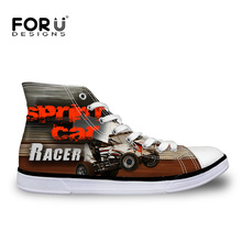 New Fashion Autumn Car Racing Printed Women High Top Canvas