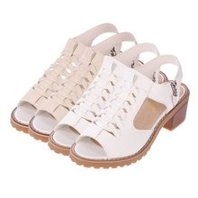 New Fish Mouth Side Zip Womens Shoes Waterproof Platform Flat Sandals Casual Wild Low Heel Summer Fashion Slim