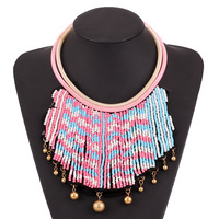 05b18f712467 2018 New Ethnic Exaggerated Cute Beads Wide Big Fake Collar Choker Necklace  Bohemian Bell Pendant Necklaces