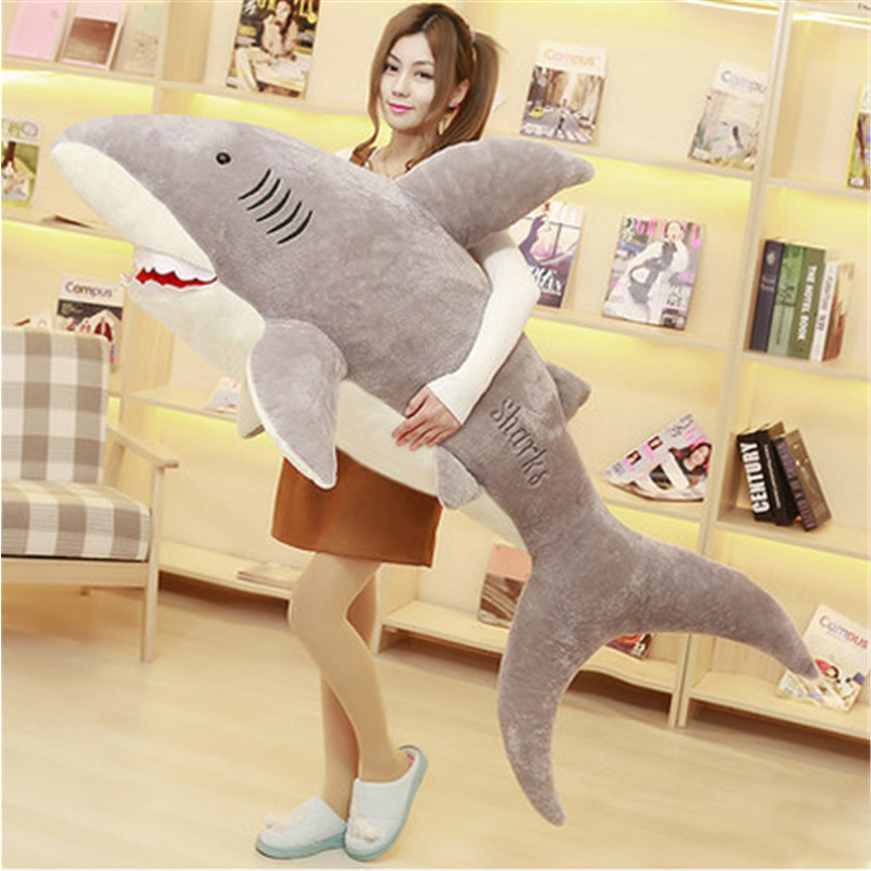 Fancytrader Giant Plush Animals Shark Toys Big Stuffed Fluffy Sea Animal Bite Sharks Gray Doll 3 Sizes for Children Friends Gift mr froger carcharodon megalodon model giant tooth shark sphyrna aquatic creatures wild animals zoo modeling plastic sea lift toy
